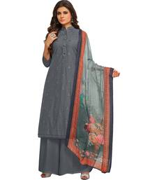 Buy Grey Cambric Cotton Printed & Embroidered Women's Palazzo Suit palazzo online