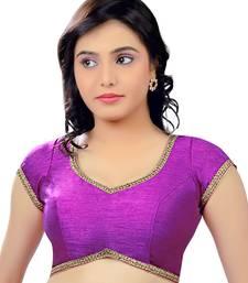 Purple dupion silk unstitched blouse fabric
