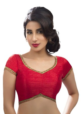 Red dupion silk unstitched blouse fabric