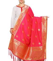 Buy Pink And Golden Art Silk Banarasi Dupatta With Tassel stole-and-dupatta online