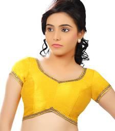 Yellow dupion silk unstitched blouse fabric