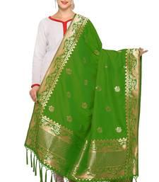Green And Golden Art Silk Banarasi Dupatta With Tassel