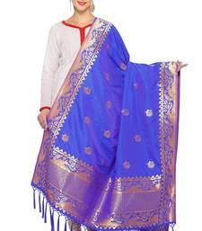 Royal Blue And Golden Art Silk Banarasi Dupatta With Tassel