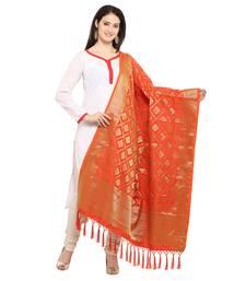 Buy Orange And Golden Art Silk Banarasi Dupatta With Tassel stole-and-dupatta online