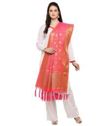 Alluring Pink And Golden Banarasi Style Dupatta With Tassel
