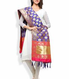 Buy Royal Blue And Pink Banarasi Dupatta With Floral Motifs stole-and-dupatta online