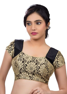 Black rasal net and banglory unstitched blouse fabric