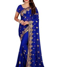 Buy Blue embroidered faux georgette saree with blouse women-ethnic-wear online