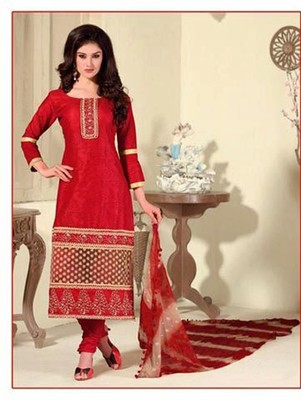 Red and Beige Cotton Jaqcuard Party Wear Straight Suit