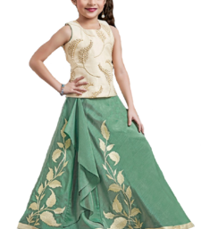 Buy green jacquard phanton silk kids lehenga choli kids-lehenga-choli online