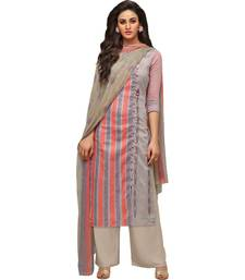 Buy Multicolor stripes print poly cotton salwar with dupatta palazzo online