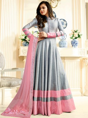 Grey embroidered georgette Anarkali Suit