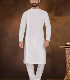 White Embroidered Cotton Poly Kurta Pajama
