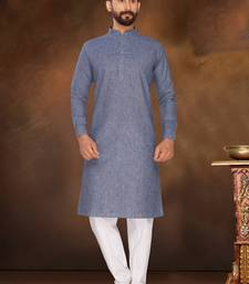 Blue Plain Polly Linen Kurta Pajama