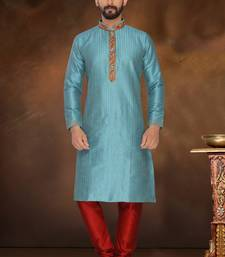 Firozi Blue Embroidered Dupion Silk Kurta Pajama