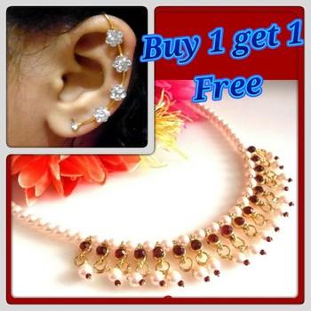 Buy 1 Get 1 Maroon Ghungru Pearl  Necklace