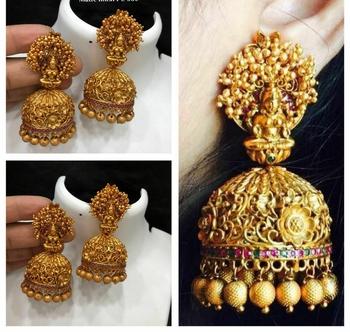 Lakshmi Temple Work Gold Plated Jhumka