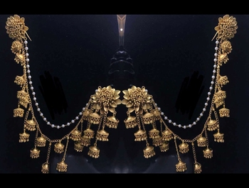 Gold Plated Designer Bahubali Earrings with Kaan chain saharas