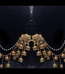 Gold Plated Designer Bahubali Earrings with Kaan chain saharas