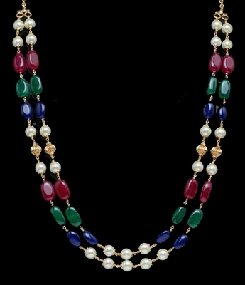 Green Red And Blue Onyx Necklace With Shell Pearls