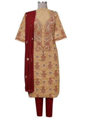 Ada Hand Embroidered Fawn Cotton Lucknowi Chikankari Suit Piece