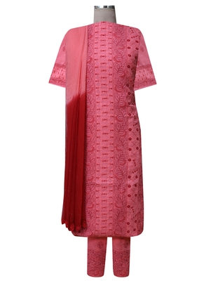 Ada Hand Embroidered Carrot Pink Cotton Lucknow Chikankari Unstitched Suit Piece