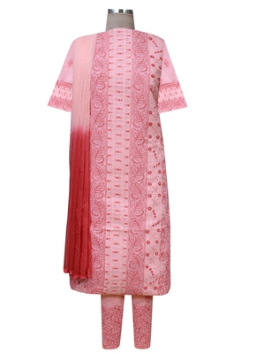 Ada Hand Embroidered Peach Cotton Lucknow Chikankari Unstitched Suit Piece