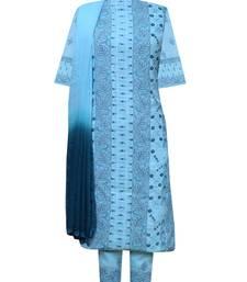 Ada Hand Embroidered Blue Cotton Lucknow Chikankari Unstitched Suit Piece