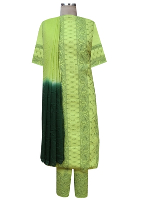 Ada Hand Embroidered Green Cotton Lucknow Chikankari Unstitched Suit Piece