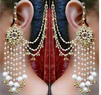 Kundan and Pearl Tassels Earrings with Kaan chain