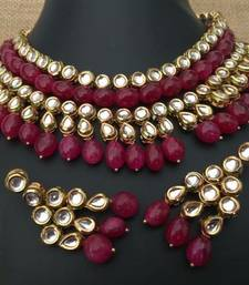 Buy Kundan and Ruby Red Onyx Stones necklace Set necklace-set online