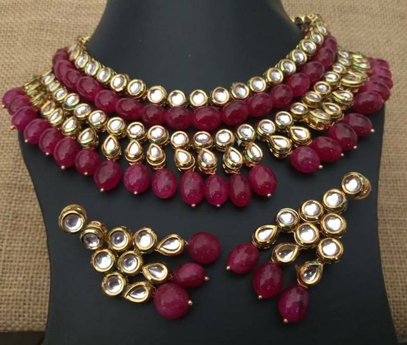 210b544f40 Kundan and Ruby Red Onyx Stones necklace Set - Glitterati by ...