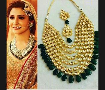Anushka Sharma Kundan Polki and Green Stones Necklace Set