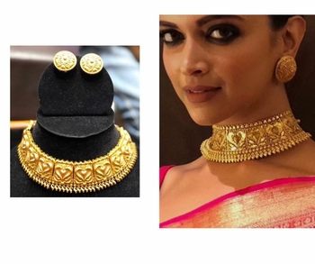 Deepika Gold Plated High Quality Choker Necklace Set