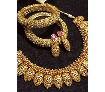 Gold Plated Temple Work Necklace Set with Bangles