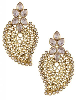 antique traditional CZ kundan pearl gold filigree large earring