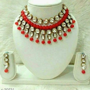 Kundan And Red Beads Necklace Set