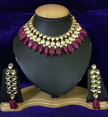 Gold Plated Kundan Necklace Set With Red Tumble Stones