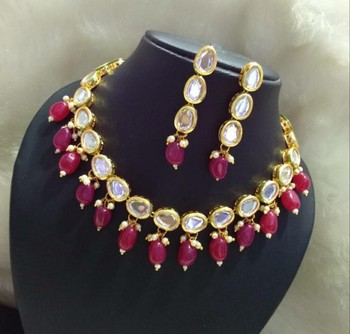 Kundan And Red Onyx Necklace Set