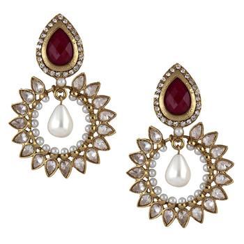 gold plated ruby pearl american diamond bali earring