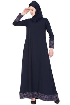 Blue Nida Plain Stitched Islamic Abaya