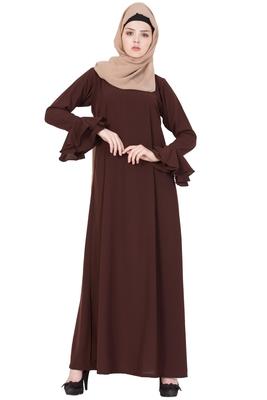 Brown Nida Plain Stitched Islamic Abaya