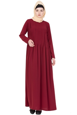 Maroon Nida Plain Stitched Islamic Abaya