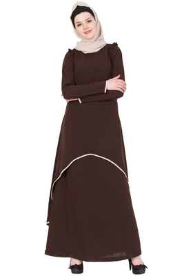 Coffee Brown Nida Plain Stitched Islamic Abaya
