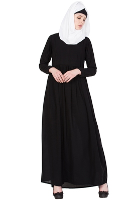 Black Nida Plain Stitched Islamic Abaya