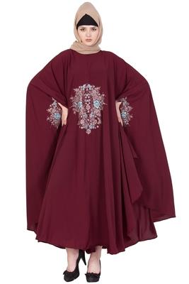 Maroon Nida Plain Stitched Islamic Kaftan Abaya