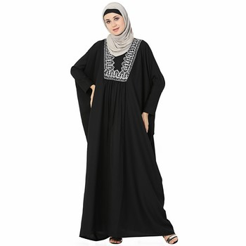 Black printed polyester stitched islamic abaya