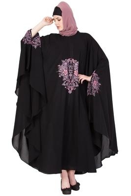 Black Nida Plain Stitched Islamic Kaftan Abaya