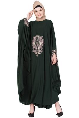 Dark Green Nida Plain Stitched Irani Kaftan Abaya