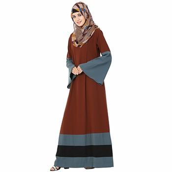 Brown plain polyester stitched islamic abaya